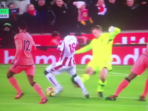 Simon Mignolet escapes red card against Stoke after awful challenge on Mame Biram Diouf