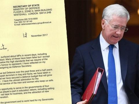Sir Michael Fallon resigns as Defence Secretary over 'past behaviour'