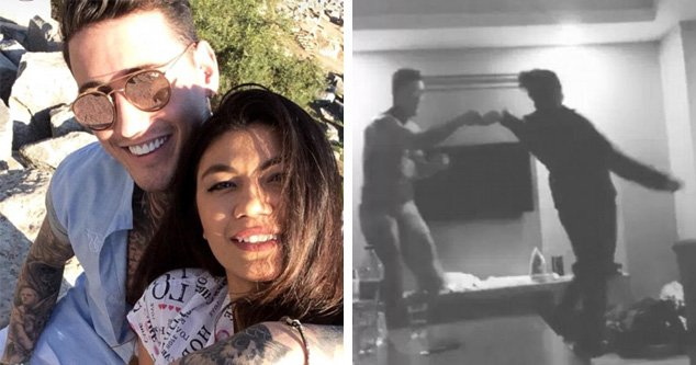 Jeremy McConnell cuddles up to mystery brunette as he parties in Turkey