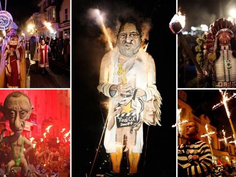Brits burn giant effigies of Harvey Weinstein and Donald Trump on Bonfire Night