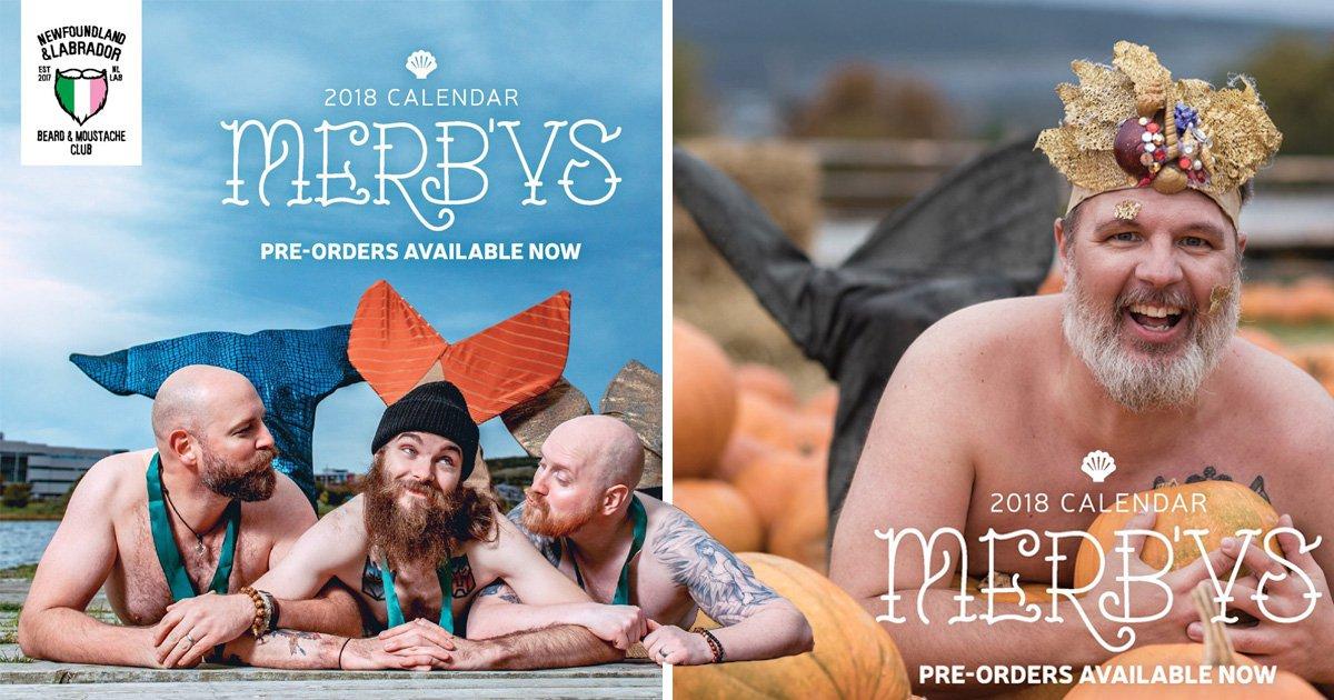Bearded guys dress up as mermen for a 2018 charity dudeoir calendar