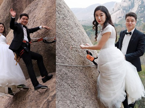 How about getting married on a zip wire hanging off the side of a massive cliff?
