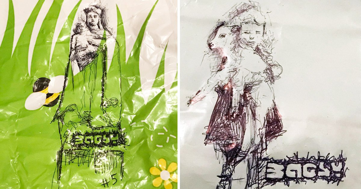 Mystery graffiti artist Bagsy leaves drawings on supermarket carrier bags