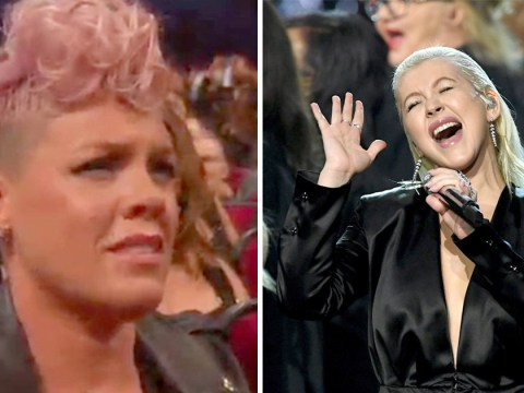 Pink didn't look too impressed by Christina Aguilera's Whitney tribute at the AMAs