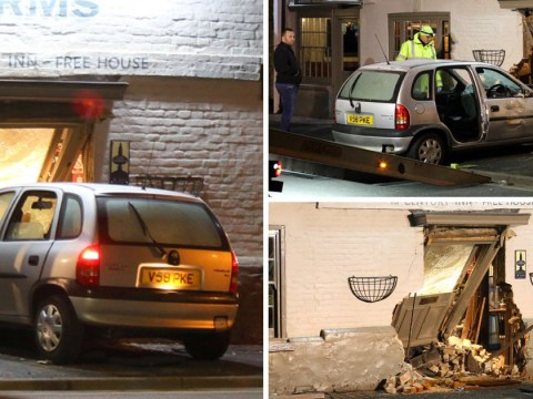 Four injured after car ploughs into front of busy pub