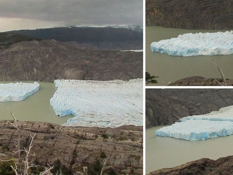 Huge chunk of ice breaks off Chilean glacier for first time in decades