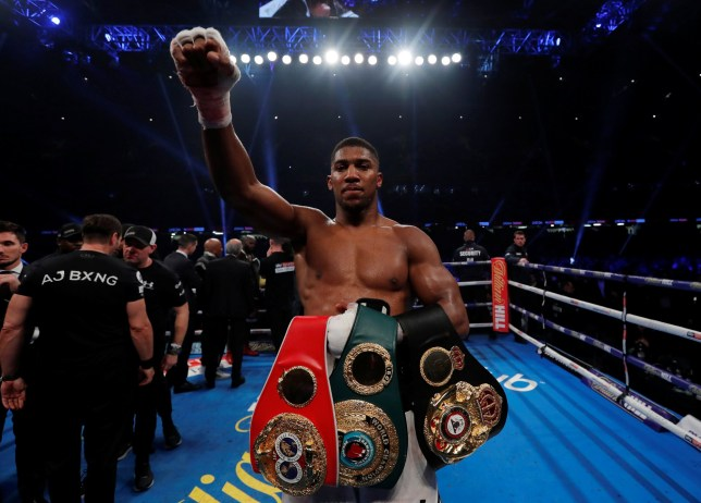 Anthony Joshua holds all three of his world titles on his arm after a dight