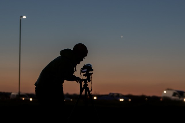 Astronomers photograph Jupiter and Venus from Greenwich Park in November 2017 (Credits: WENN.com)