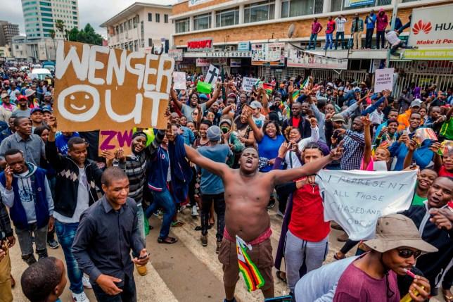 Protest against Zimbabwe's president Robert Mugabe