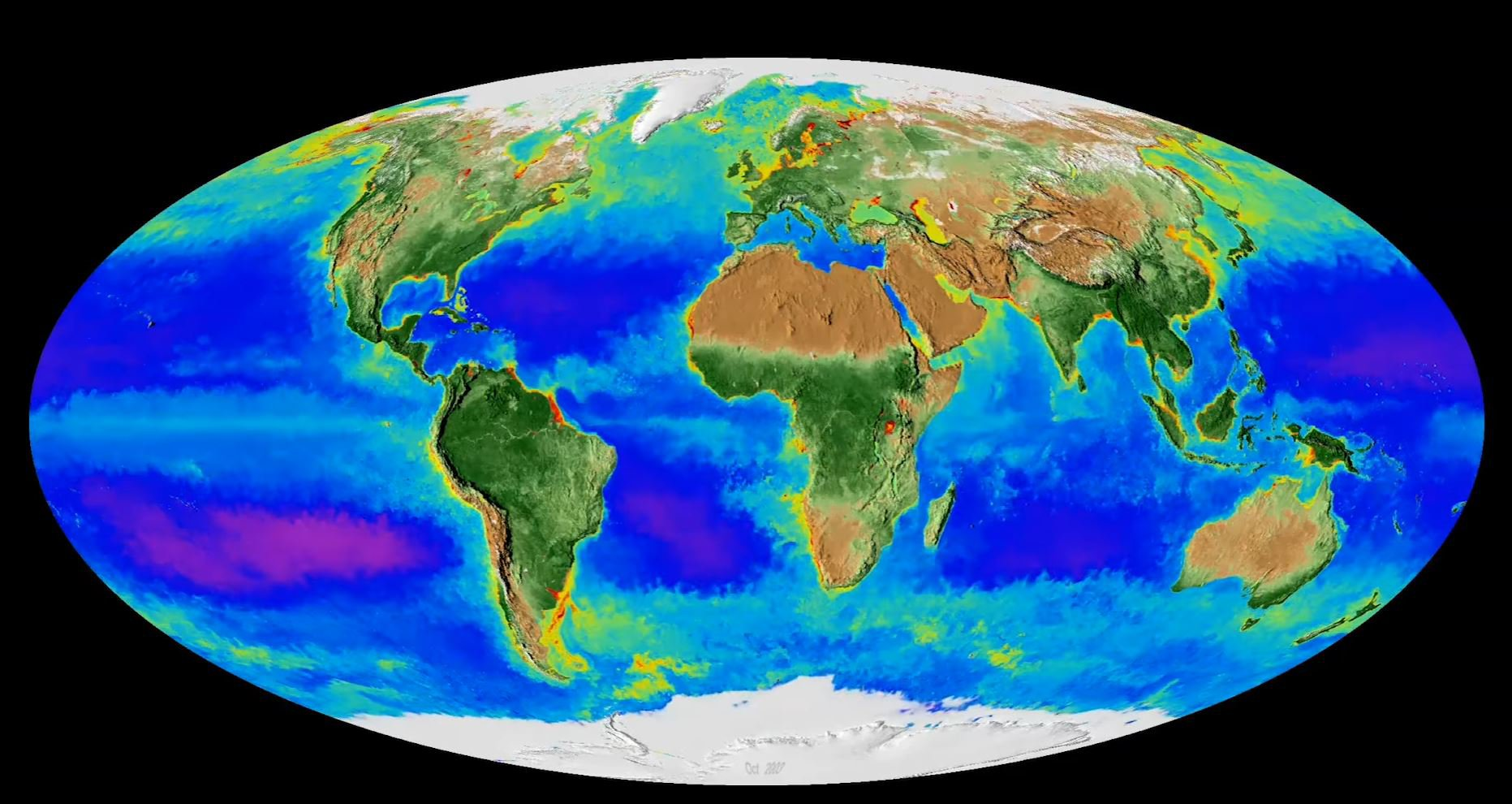 New Map Of Earth.Nasa S New Living Map Of Earth Captures 20 Years Of Climate Change