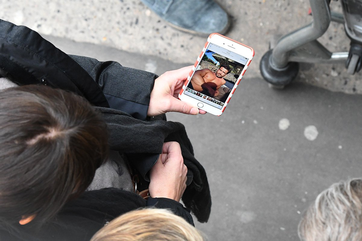 Davina McCall spotted earlier this year showing off topless husband snap on phone