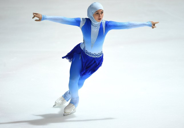 First figure skater to compete wearing a headscarf