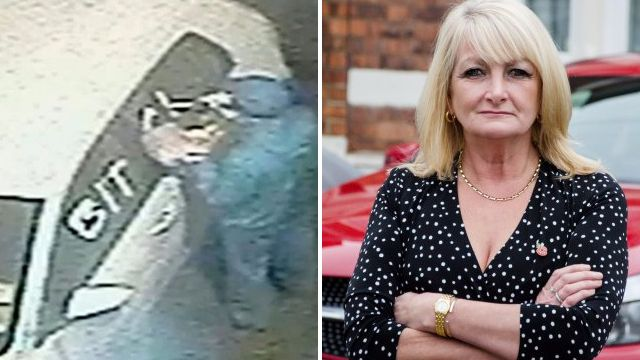 Boss filmed writing 'bitch' on ex-worker's car in revenge attack