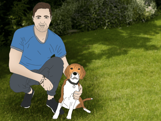 illustration of a man with a dog