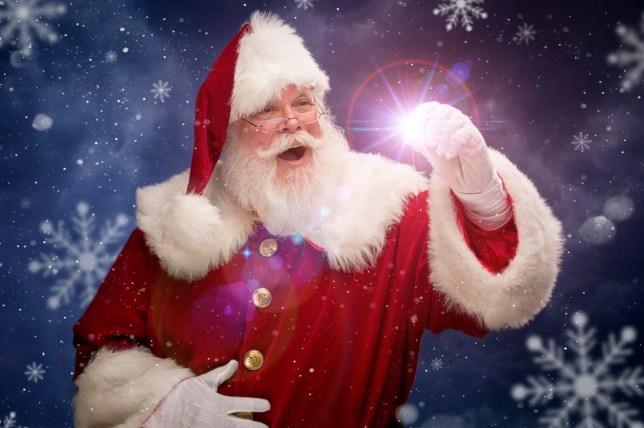 Portrait of the Real Santa Claus creating Christmas Magic