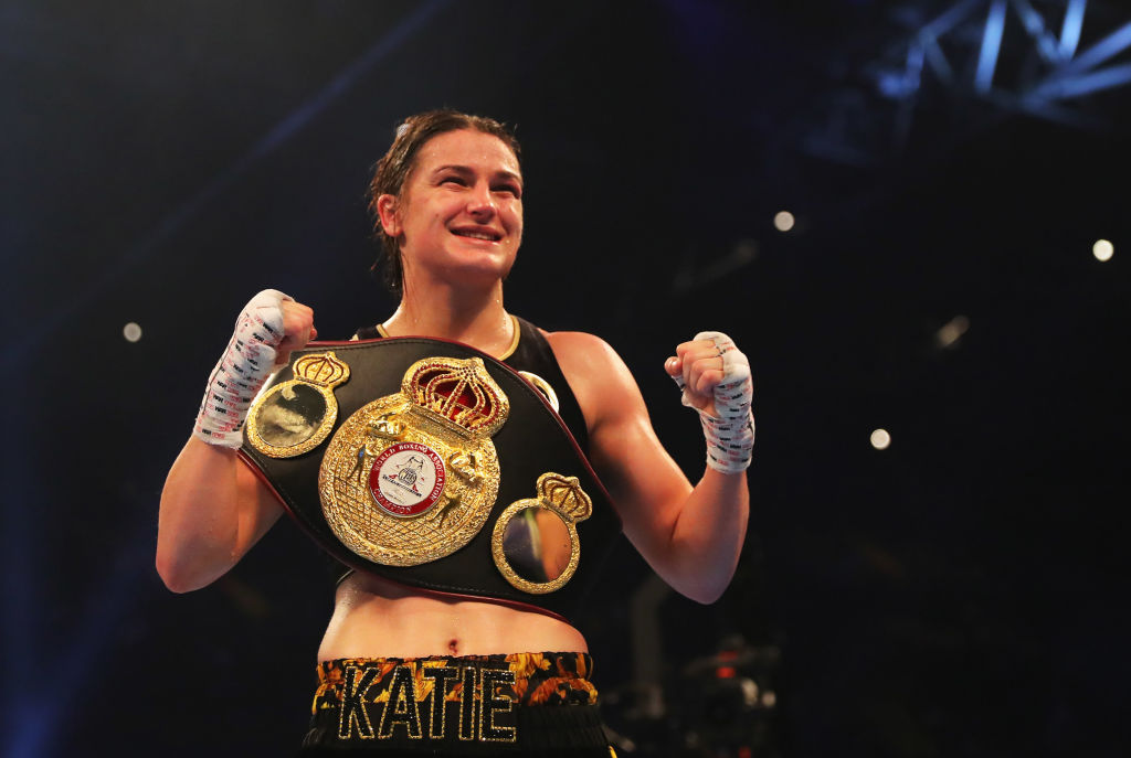 Katie Taylor with his WBA belt