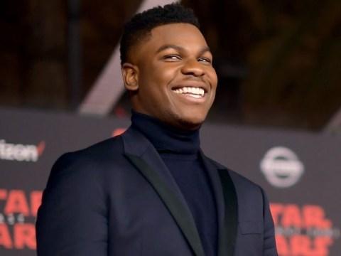 John Boyega makes it to LA to join co-stars at the Star Wars: The Last Jedi premiere