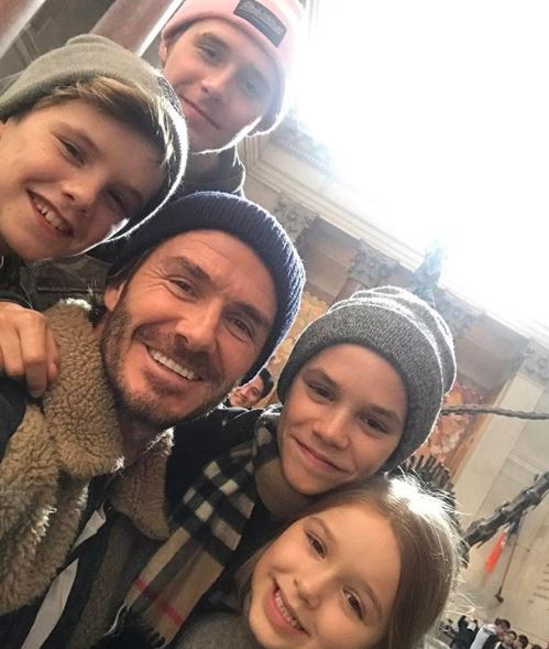 David Beckham with Brooklyn, Romeo, Cruz and Harper