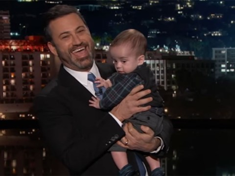 Jimmy Kimmel gets emotional as he brings his seven-month-old son on TV