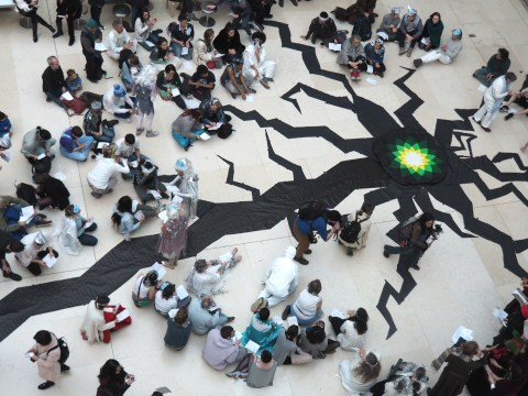 Activists leave huge 'crack' in floor of British Museum to protest climate change