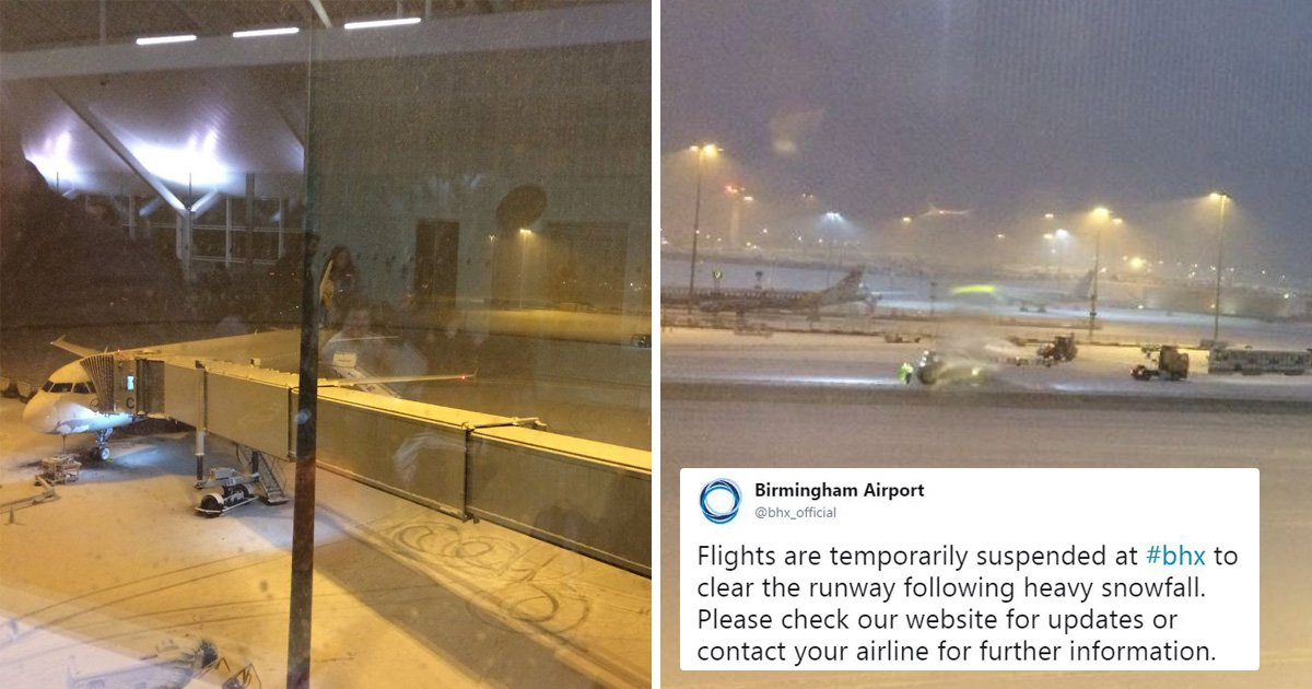 Flights from Birmingham suspended as heavy snow hits the UK