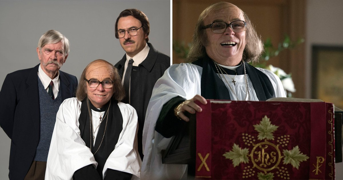 Jennifer Saunders transforms into a money-hungry vicar in Grandpa's Great Escape and she looks completely different