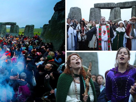 Druids gather at soggy Stonehenge to see sun rise after winter solstice