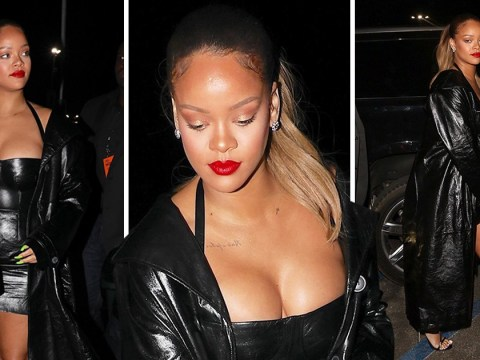 Rihanna is an ultimate boss in leather as she attends Jay-Z's Los Angeles gig