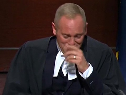 Judge Rinder in hysterics after dog poos on his lap in the courtroom