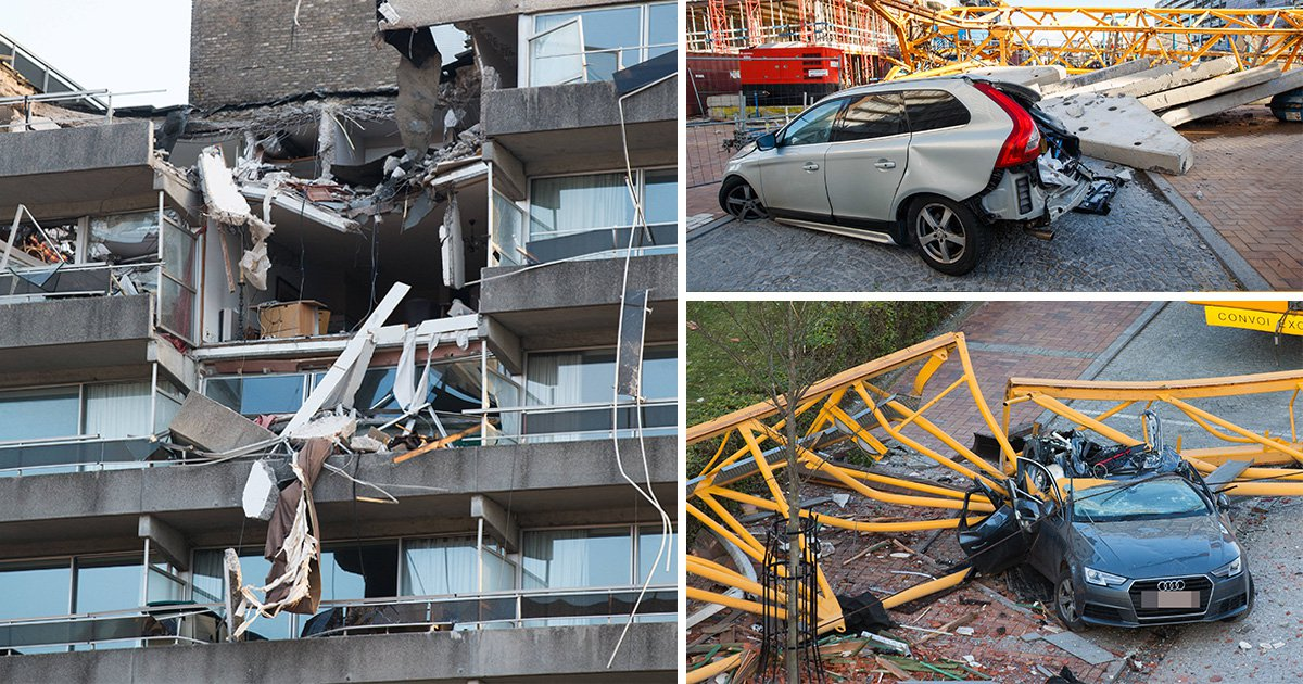 One dead after crane crashes down on building during storm