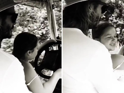 David Beckham lets daughter Harper drive a golf buggy as proud mum Victoria watches on