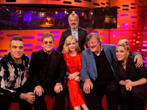 Who is on Graham Norton tonight? Elton John, Stephen Fry, Pink and Robbie Williams on the couch