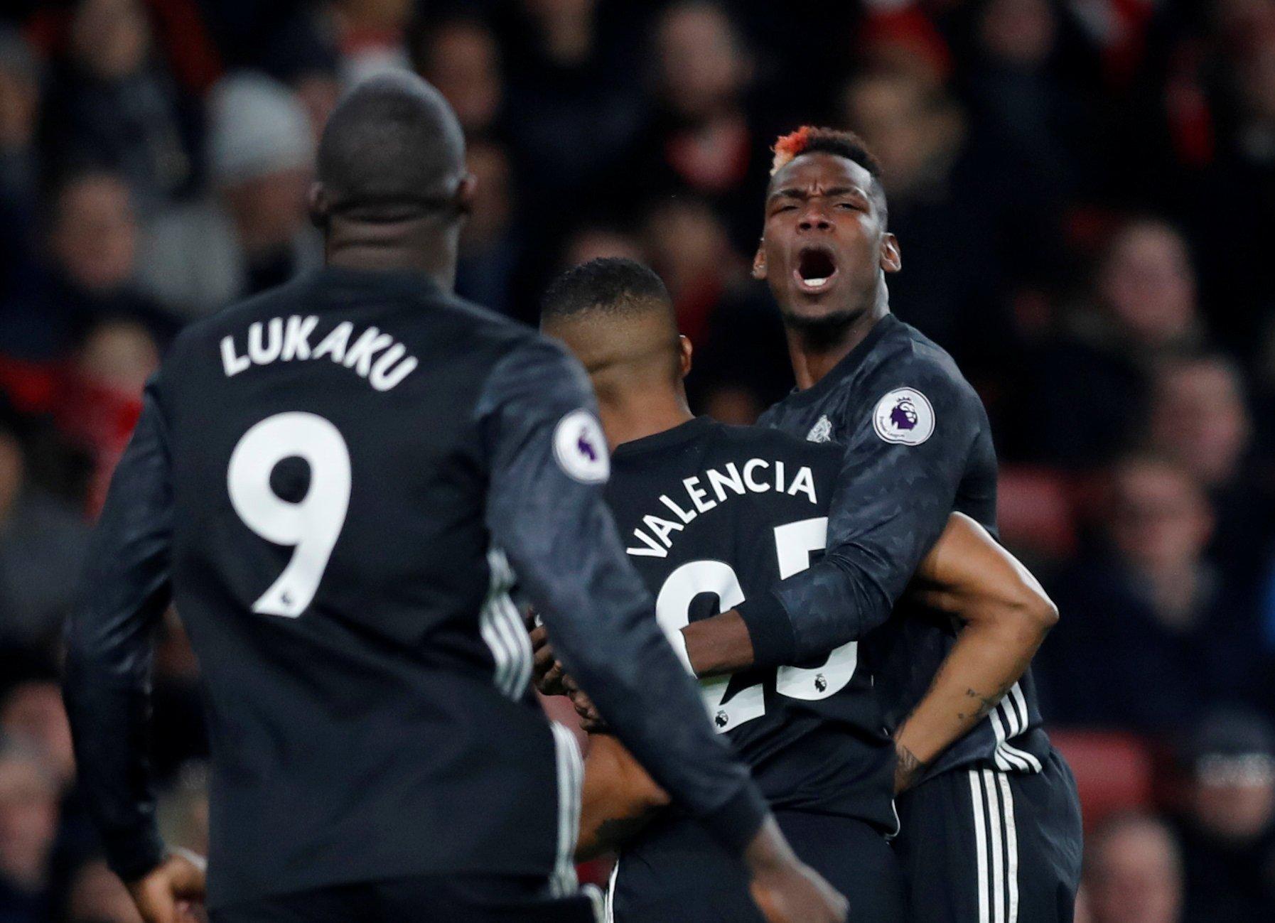 Paul Pogba rages at Romelu Lukaku during Man Utd's clash with Arsenal