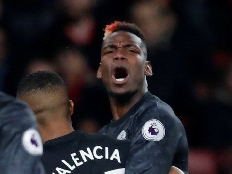 Paul Pogba rages at Romelu Lukaku during Man Utd's clash with Arsenal