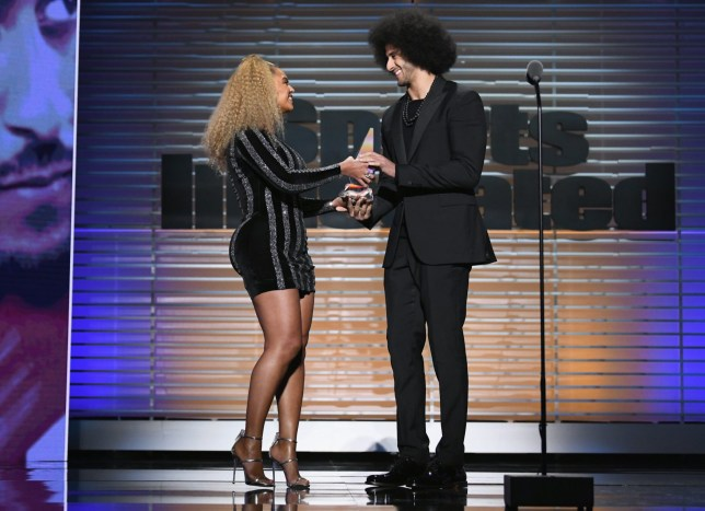 Beyonce presents award to Colin Kaepernick