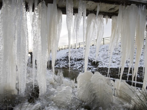 Spectacular seven foot long icicles appear in Pennines as cold snap continues