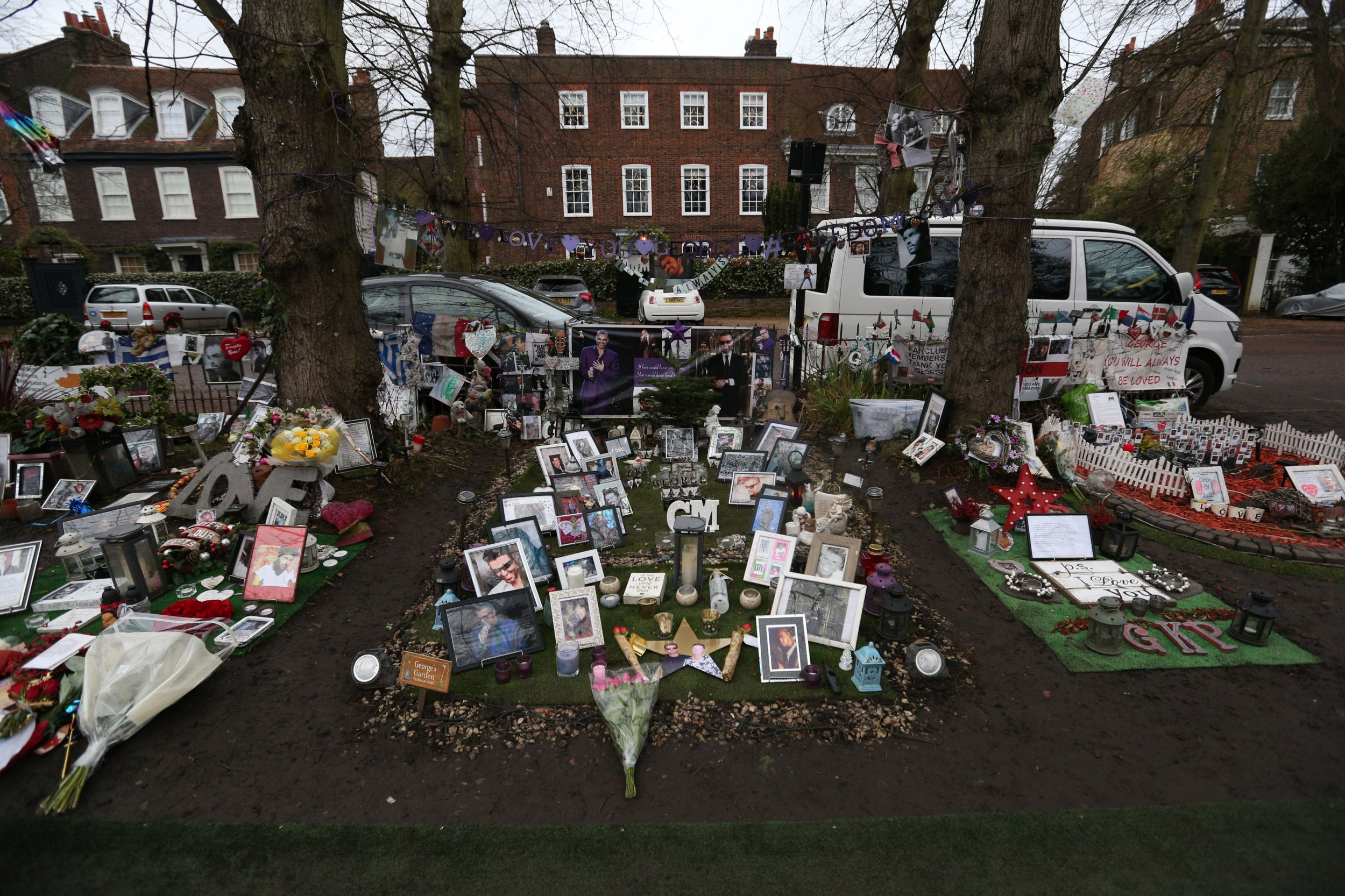 Tributes left at George Michael's home on the first anniversary of his death