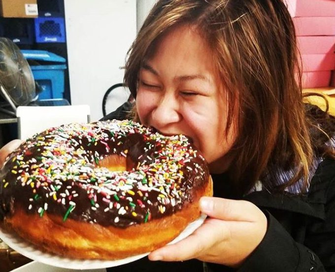 Bakery challenges people to eat doughnuts the size of their face in under two minutes
