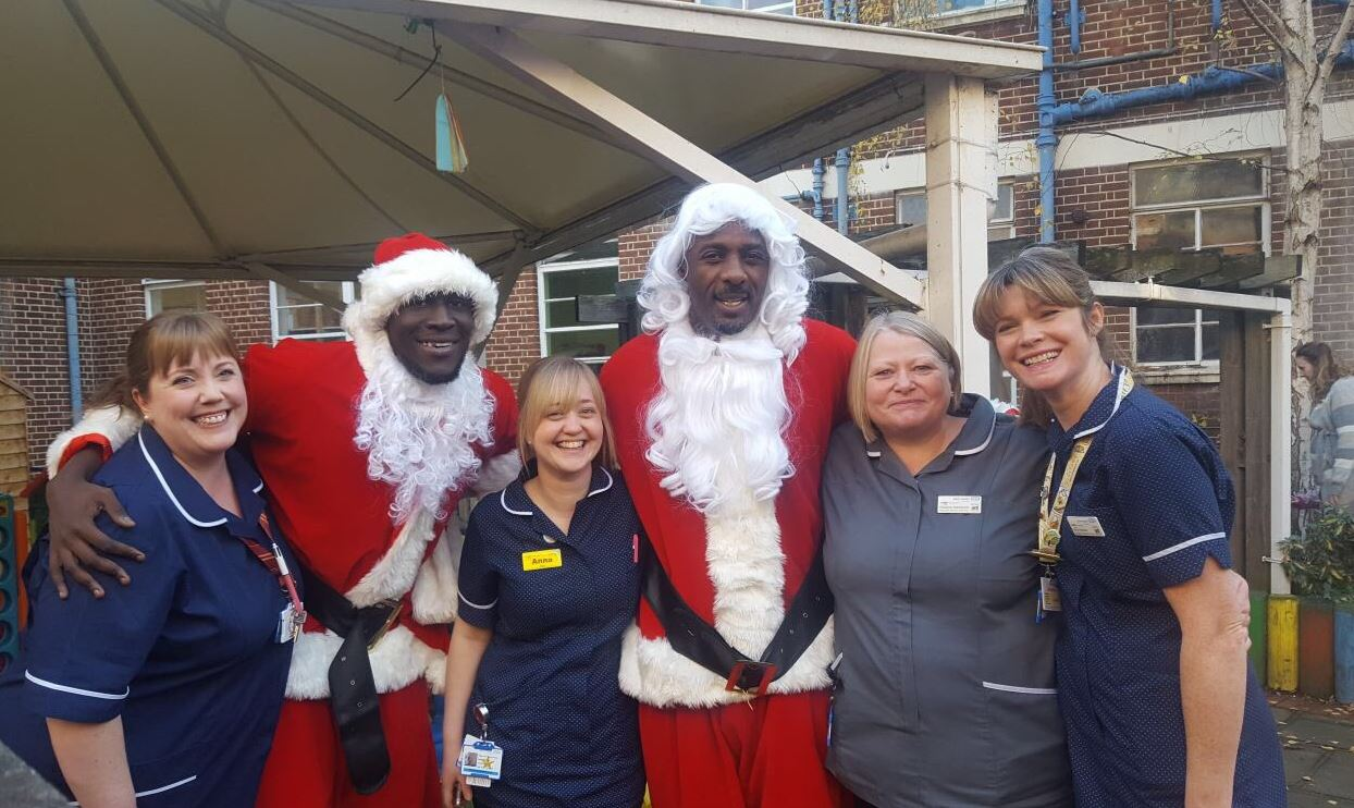 Idris Elba and Stormzy dress up as Santa Claus for hospital patients