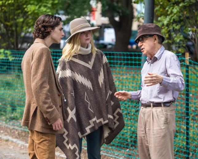 Timothee Chalamet, Elle Fanning and Woody Allen