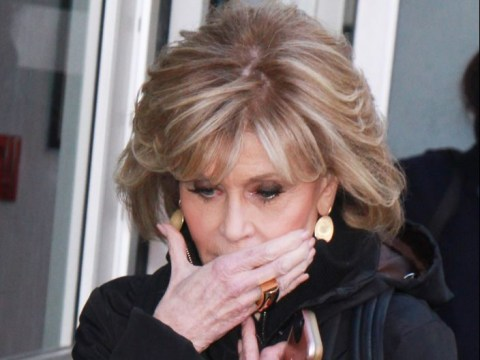 Jane Fonda covers lip after revealing she's had operation to remove cancerous growth