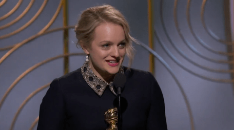Elisabeth Moss thanks The Handmaid's Tale author Margaret Atwood in Golden Globe acceptance speech