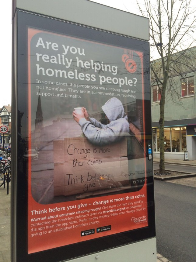Tory council puts up poster telling people not to give money