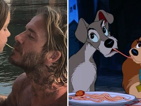 David Beckham and daughter Harper re-enact scene from Lady And The Tramp