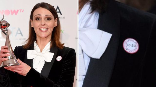 Suranne Jones calls for gender equality and equal pay with 50/50 badge at the NTAs