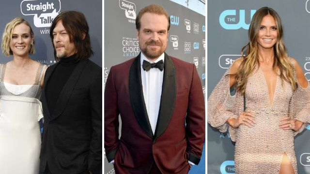 Stranger Things' David Harbour and The Walking Dead's Norman Reedus shine on the Critics Choice blue carpet