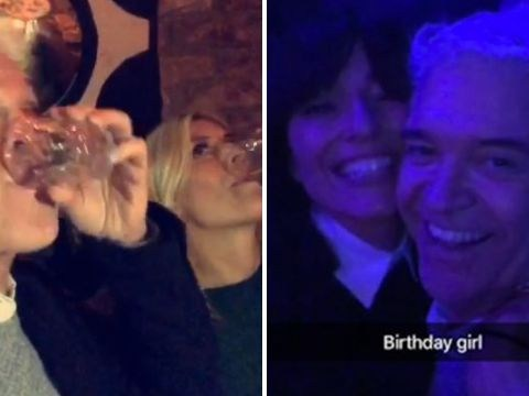 Holly Willoughby and Phil Schofield get on the shots at Davina McCall's 50th birthday