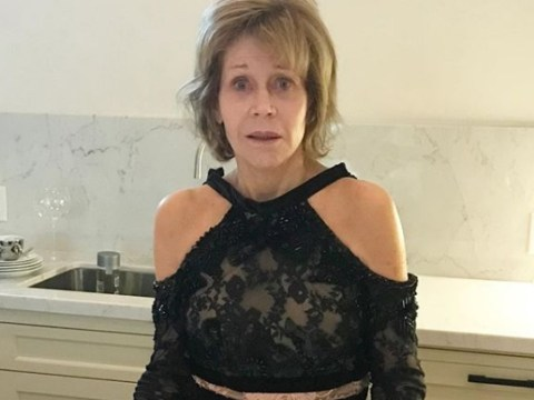 Jane Fonda slept in her red carpet gown because the struggle is real for everyone