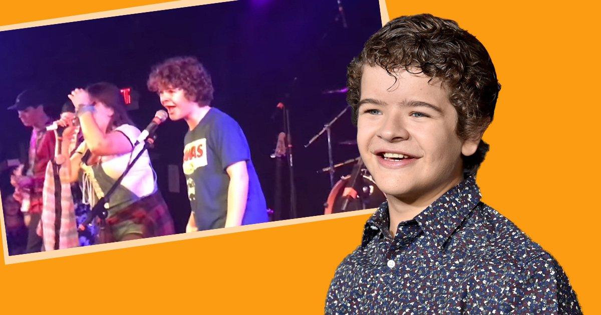 Stranger Things' Gaten Matarazzo goes full rockstar as his band covers Fall Out Boy