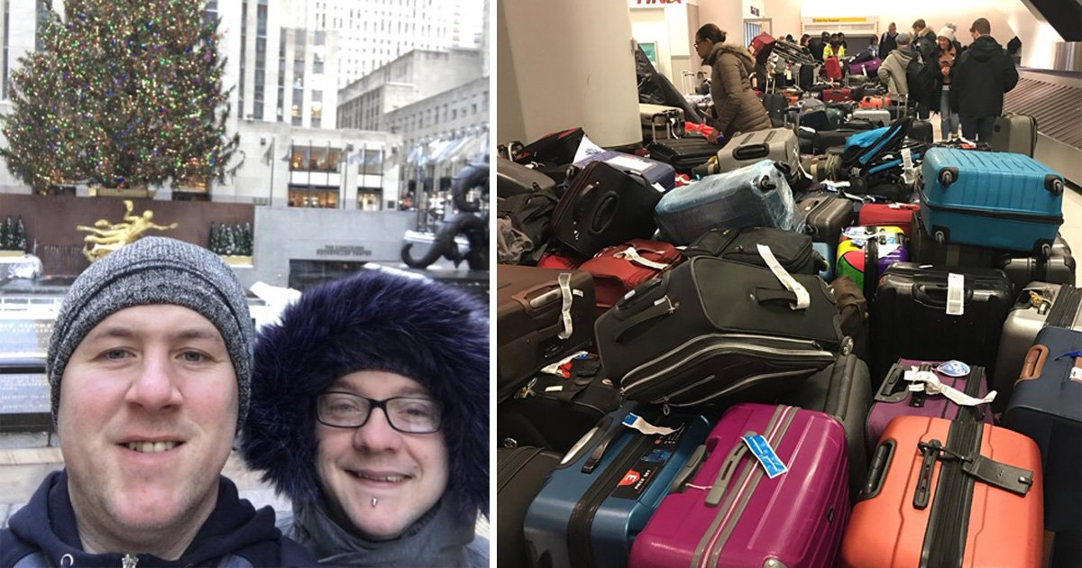 Tourists endure -7C snowstorm in T-Shirts and tracksuit bottoms after JFK luggage blunder